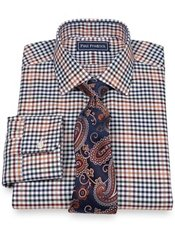 2-Ply Cotton Gingham Jermyn Street Collar Dress Shirt