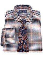 2-Ply Cotton Gingham Jermyn Street Collar Trim Fit Dress Shirt