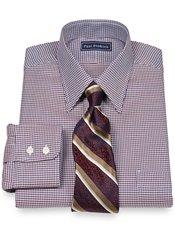 2-Ply Cotton Houndstooth Straight Collar Dress Shirt