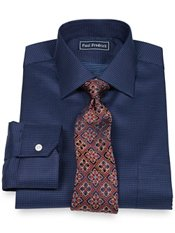 2-Ply Cotton Dot Pattern Spread Collar Dress Shirt
