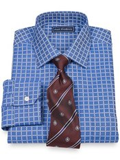 2-Ply Cotton Windowpane Spread Collar Dress Shirt
