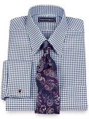 2-Ply Cotton Textured Grid Straight Collar French Cuff Dress Shirt