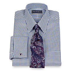 2-Ply Cotton Grid Straight Collar French Cuff Trim Fit Dress Shirt $20.00 AT vintagedancer.com
