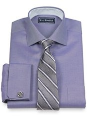 2-Ply Cotton Diagonal Stripe Cutaway Collar French Cuff Dress Shirt