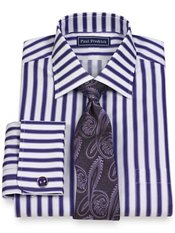 2-Ply Cotton Satin Shadow Stripe Spread Collar French Cuff Dress Shirt