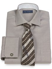 2-Ply Cotton Diagonal Stripe Cutaway Collar French Cuff Trim Fit Dress Shirt