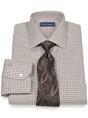 2-Ply Cotton Houndstooth Spread Collar Dress Shirt