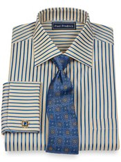 2-Ply Cotton Stripe Spread Collar French Cuff Trim Fit Dress Shirt