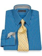 2-Ply Cotton Satin Rope Straight Collar Trim Fit Dress Shirt