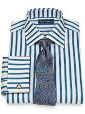 2-Ply Cotton Bold Satin Stripe Spread Collar French Cuff Dress Shirt