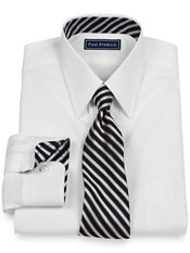 2-Ply Cotton Straight Collar w/ Silk Trim Dress Shirt