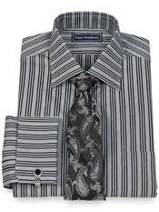 2-Ply Cotton Triple Satin Stripe Spread Collar French Cuff Dress Shirt