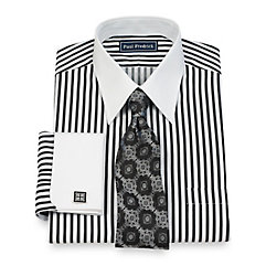 2-Ply Cotton Raised Satin Stripe Straight Collar French Cuff Dress Shirt