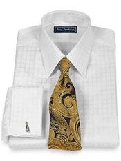 2-Ply Cotton Satin Windowpane Straight Collar French Cuff Dress Shirt