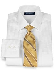 2- Ply Cotton Satin Houndstooth Spread Collar Dress Shirt