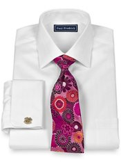 2-Ply Cotton Satin Herringbone Spread Collar French Cuff Dress Shirt
