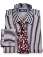 2-Ply Cotton Alternating Stripe Spread Collar French Cuff Dress Shirt