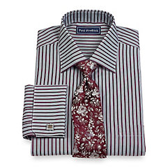 2-Ply Cotton Alternating Stripe Spread Collar French Cuff Dress Shirt $20.00 AT vintagedancer.com