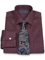 2-Ply Cotton Satin Rope Grid Spread Collar Trim Fit Dress Shirt