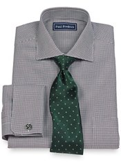 2-Ply Cotton Houndstooth Cutaway Collar French Cuff Trim Fit Dress Shirt