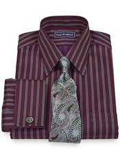 2-Ply Cotton Satin Stripe Straight Collar French Cuff Trim Fit Dress Shirt