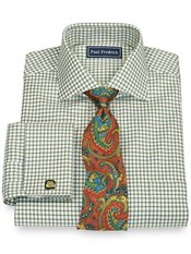 2-Ply Cotton Textured Grid Cutaway Collar French Cuff Trim Fit Dress Shirt