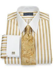 2-Ply Cotton Bold Satin Stripe Straight Collar French Cuff Trim Fit Dress Shirt