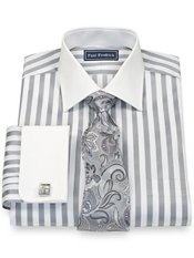 2-Ply Cotton Bold Satin Spread Collar French Cuff Trim Fit Dress Shirt
