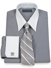 2-Ply Cotton Dot Pattern Straight Collar French Cuff Trim Fit Dress Shirt