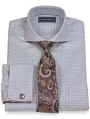 2-Ply Cotton Houndstooth Extreme Cutaway Collar French Cuff Dress Shirt