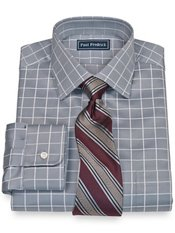 2-Ply Cotton Satin Rope Grid Spread Collar Dress Shirt