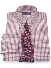 2-Ply Cotton Check Button Down Collar Dress Shirt
