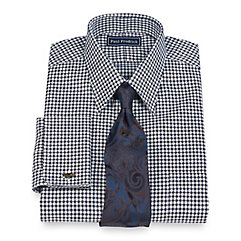 2-Ply Cotton Texture Grid Straight Collar French Cuff Trim Fit Dress Shirt