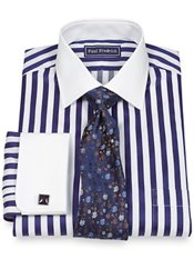 2-Ply Cotton Bold Satin Stripe Spread Collar French Cuff Trim Fit Dress Shirt