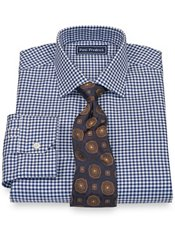 2-Ply Cotton Bold Houndstooth Jermyn Street Collar Trim Fit Dress Shirt