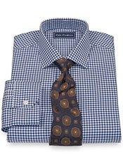 2-Ply Cotton Bold Houndstooth Jermyn Street Collar Trim Fit Dress Shirt