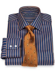 2-Ply Cotton Satin Twill Stripe Spread Collar Trim Fit Dress Shirt