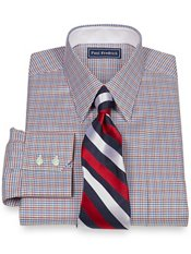 2-Ply Cotton Houndstooth Straight Collar Trim Fit Dress Shirt