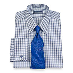 Luxury 140's Cotton Check Straight Collar French Cuff Trim Fit Dress Shirt