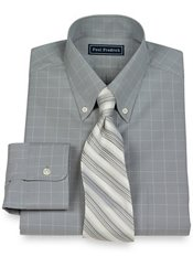 2-Ply Cotton Pinpoint Windowpane Button Down Collar Dress Shirt