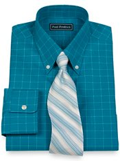 2-Ply Cotton Pinpoint Windowpane Button Down Collar Trim Fit Dress Shirt