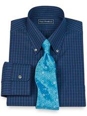 2-Ply Cotton Pinpoint Two Color Grid Button Down Collar Trim Fit Dress Shirt