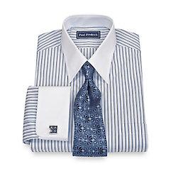 100% Cotton Shadow Stripe Straight Collar French Cuff Dress Shirt