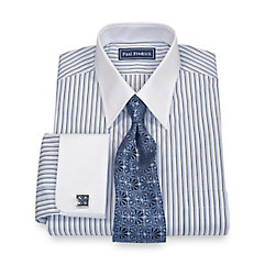 100% Cotton Shadow Stripe Straight Collar French Cuff Trim Fit Dress Shirt