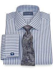 100% Cotton Stripe Spread Collar French Cuff Trim Fit Dress Shirt