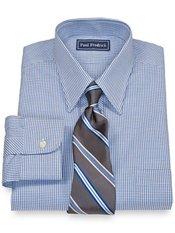 100% Cotton Mini Grid Straight Collar Trim Fit Dress Shirt