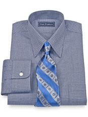 100% Cotton Mini Windowpane Hidden Button Down Collar Trim Fit Dress Shirt