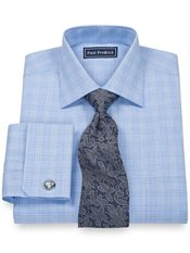 100% Cotton Glen Plaid Spread Collar French Cuff Trim Fit Dress Shirt