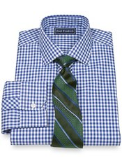 100% Cotton Gingham Jermyn Street Collar Trim Fit Dress Shirt