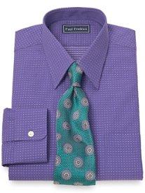 2-Ply Cotton Dot Pattern Straight Collar Dress Shirt